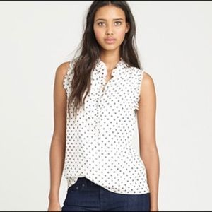 J. Crew Natasha polka dot 100% silk top